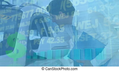 Animation of statistics with data processing and American dollar sign over Caucasian man looking int