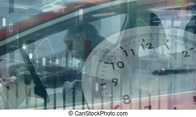 Animation of statistics with data processing and clock ticking over Caucasian man going into a car