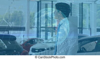 Animation of statistics with data processing and globe spinning over Caucasian man standing by a car