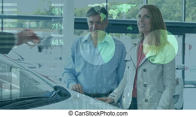 Animation of statistics with data processing over Caucasian couple standing by a car