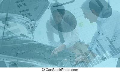 Animation of statistics with data processing over two Caucasian man discussing by a car engine