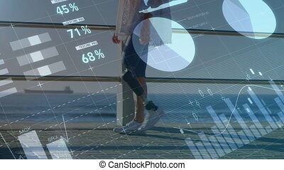 Animation of statistics with prosthetic woman walking near the beach in background