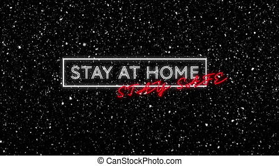 Animation of stay at home stay safe text with winter scenery and snow falling on black background. christmas time during covid 19 coronavirus pandemic concept digitally generated image.