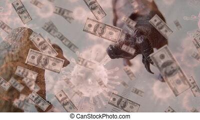 Animation of stock market bull and bear figures, American dollar banknotes falling, macro coronavirus Covid-19 cells spreading. Global economy stock market recession coronavirus Covid-19 pandemic concept digitally generated image..
