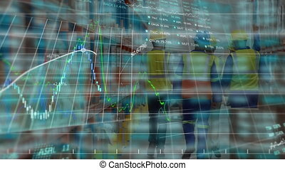 Animation of stock market display on glowing background.