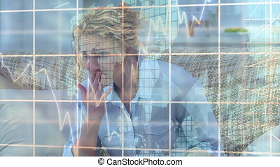 Animation of stock market display over a woman watching a ...