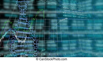 Animation of stock market display over DNA strand spinning...