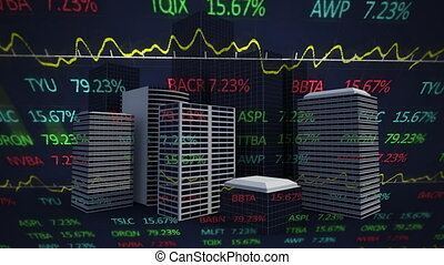 Animation of stock market display with modern city in the background