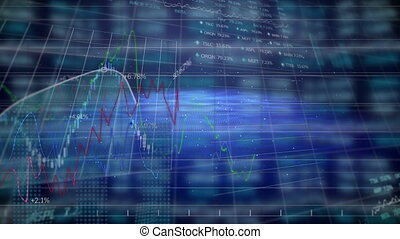 Animation of stock market display with numbers and graphs on blue background