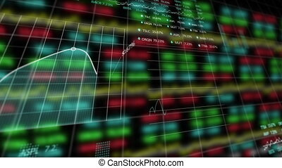 Animation of stock market display with numbers and graphs
