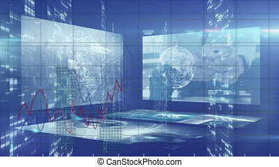 Animation of stock market display with numbers graphs and screens recording data in background
