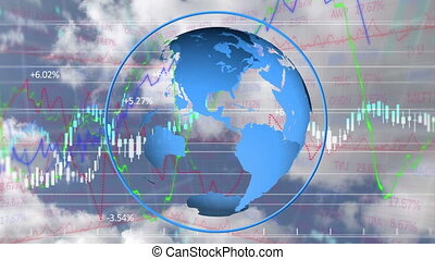 Animation of stock market numbers and globe with cloudy sky in background