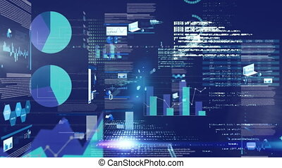 Animation of stock market reading data processing and statistics recording on glowing blue backgroun