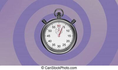 Animation of stopwatch ticking over rotating purple stripes moving in seamless loop