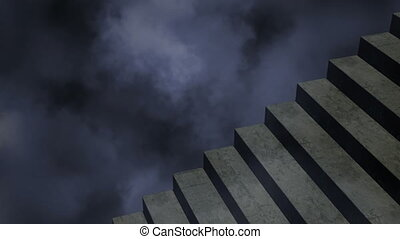 Animation of stormy clouds moving in seamless loop with stone staircase in foreground. abstract movement concept digitally generated image.