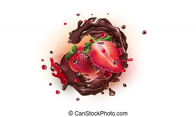 Animation of strawberry slices with liquid chocolate on the alpha channel.