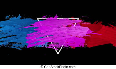 Animation of strokes of pink, blue of red paint with white ...