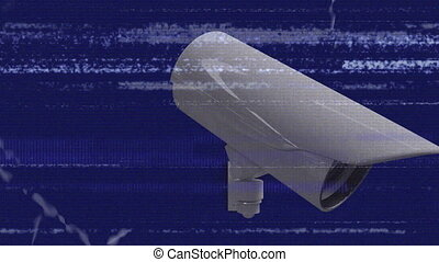 Animation of Closed Circuit Television cameras moving around with horizontal flickering lines and white particles in fast motion on blue background. Global network of surveillance technology concept digital composite.