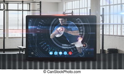 Animation of tablet computer showing a male rugby player catching a ball. Coronavirus spreading.