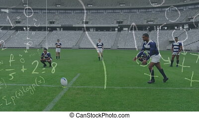Animation of tactics and game plan over mixed race male rugby player kicking a ball with his teammates in the background digital composite