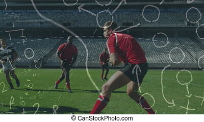 Animation of tactics and game plan over two multi-ethnic rugby teams playing rugby, running and pushing digital composite