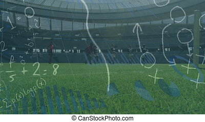 Animation of tactics floating with graph appearing over two multi-ethnic rugby teams playing rugby, running and pushing digital composite