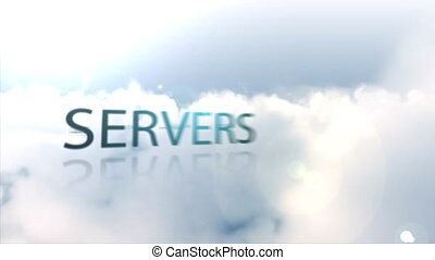 Animation of technology terms floating over the clouds