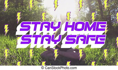 Animation of text Stay Home Stay Safe with lightning icons ...