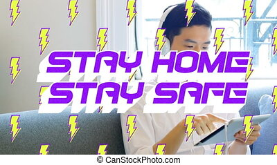 Animation of text Stay Home Stay Safe with lightnings icons ...