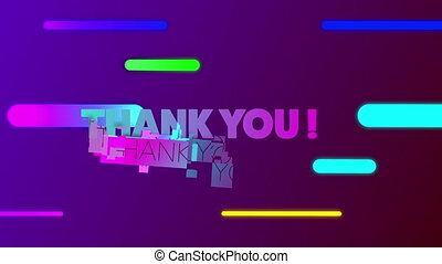Animation of thank you text in blue and pink letters over multi coloured neon lines