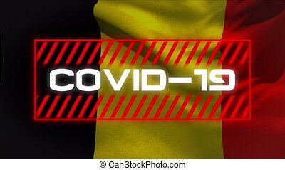 Animation of a word Covid-19 in red frame over a Belgian flag. Global pandemic coronavirus Covid 19 outbreak concept digitally generated.