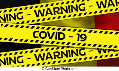 Animation of words Warning Covid-19 written on yellow and black tape over Belgian flag waving. Global pandemic coronavirus Covid 19 outbreak concept digitally generated.