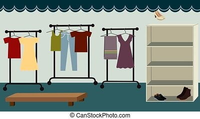 Animation of the creating of a clothing store - clothes,...