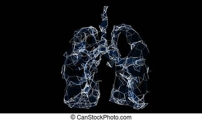 Animation of the nerve endings of human pulmonary pathways. Abstract video symbolizing the aging of the lungs