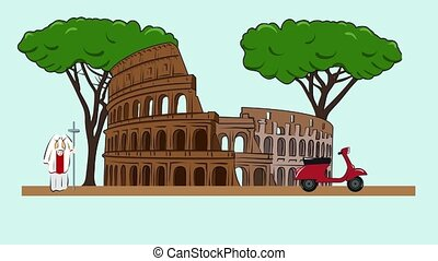 Animation of the sights of Rome - Coliseum, trees, moped,...