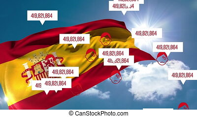Animation of the Spanish flag over multiple icons and bubble...