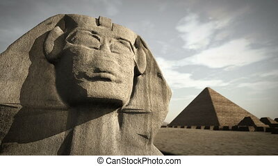 Animation of the Sphinx at the Giza platform, Egypt 4K - An...