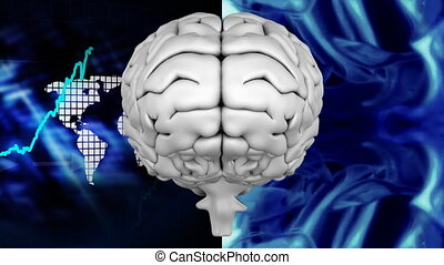Animation of the top of brain against a binary codes and graphics