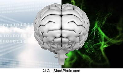 Animation of the top of brain against a binary codes and ...