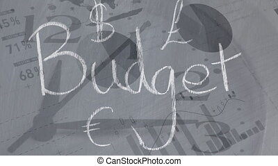 Animation of the word Budget over stock market display in ...