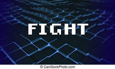 Animation of the word FIGHT on video computer game screen - ...