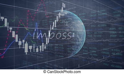 Animation of the word Impossible and globe spinning with stock market display in the background