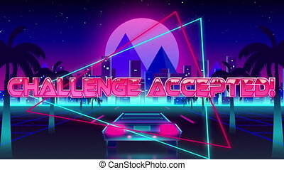 Animation of the words Challenge Accepted! over triangles - ...