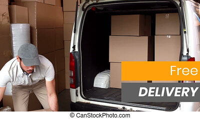 Animation of the words Free Delivery over delivery man ...