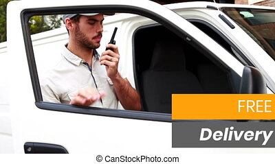 Animation of the words Free Delivery over man talking on a phone delivering goods