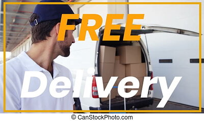 Animation of the words Free Delivery over man with clipboard...