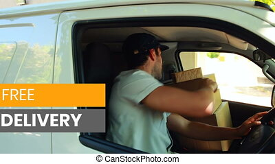 Animation of the words Free Delivery written over man waving in a car delivering goods
