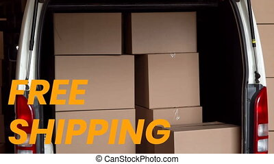 Animation of the words Free Shipping over man delivering ...