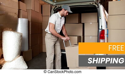 Animation of the words Free Shipping over man loading boxes ...