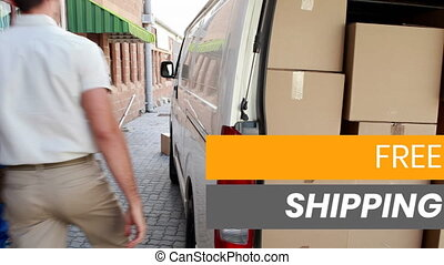 Animation of the words Free Shipping over man with a trolley, driver getting in a van